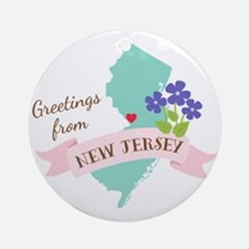 New Jersey State Outline Violet Flower Greetings O