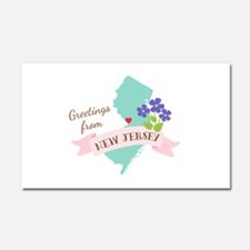 New Jersey State Outline Violet Flower Greetings C
