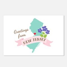 New Jersey State Outline Violet Flower Greetings P