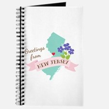 New Jersey State Outline Violet Flower Greetings J
