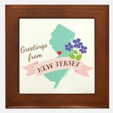 New Jersey State Outline Violet Flower Greetings F