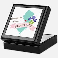 New Jersey State Outline Violet Flower Greetings K