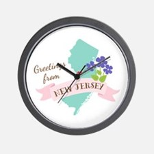 New Jersey State Outline Violet Flower Greetings W