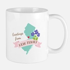 New Jersey State Outline Violet Flower Greetings M