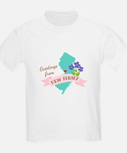 New Jersey State Outline Violet Flower Greetings T