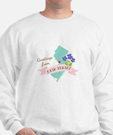 New Jersey State Outline Violet Flower Greetings S
