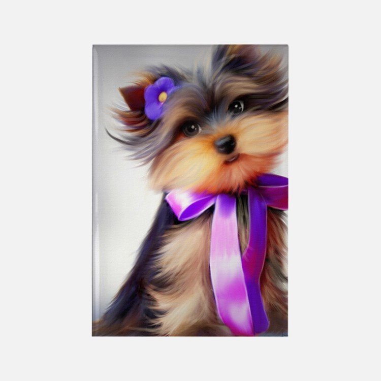 ByCatiaCho Yorkie Violet Rectangle Magnet