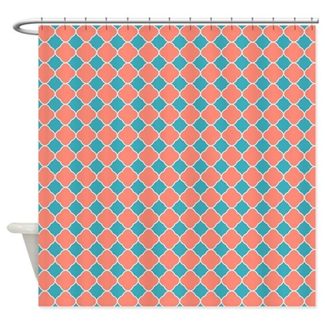 Coral Teal Blue Quatrefoil Shower Curtain By Printcreekstudio
