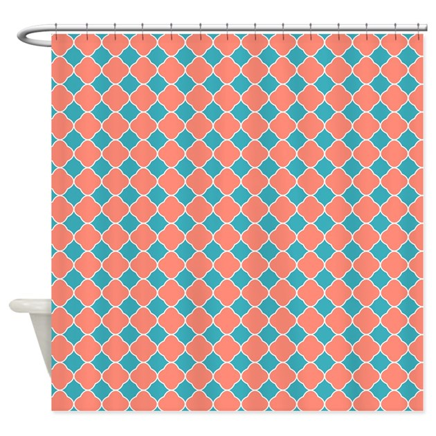 coral teal blue quatrefoil shower curtain by printcreekstudio