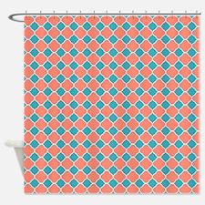 Coral Teal Blue Quatrefoil Shower CurtainTeal And Coral Shower Curtains   Teal And Coral Fabric Shower  . Coral And Teal Shower Curtain. Home Design Ideas