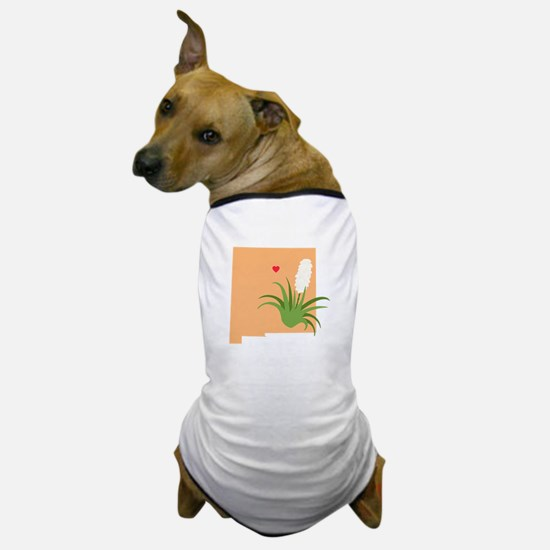 New Mexico State Outline Yucca Flower Dog T-Shirt