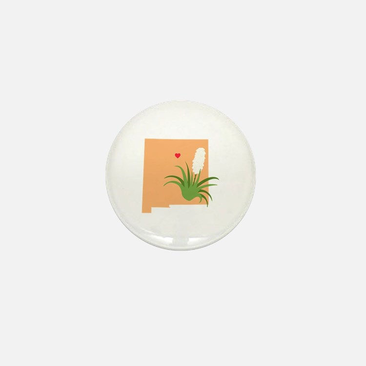 New Mexico State Outline Yucca Flower Mini Button