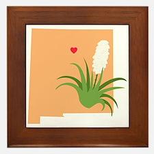 New Mexico State Outline Yucca Flower Framed Tile