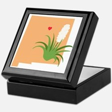 New Mexico State Outline Yucca Flower Keepsake Box