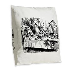 Alice In Wonderland Tea Party Burlap Throw Pillow