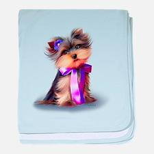 ByCatiaCho Yorkie Violet baby blanket