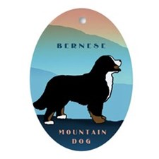 Bernese Blue Mountain Oval Ornament