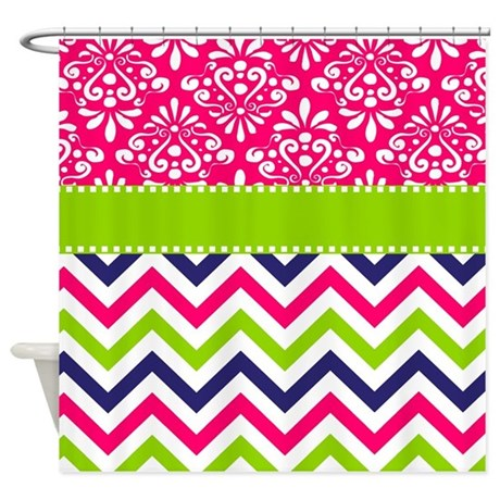 pink green chevron damask shower curtain by