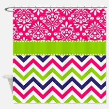 Pink Green Chevron Damask Shower Curtain