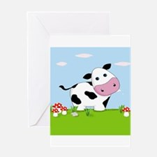 Cow in a Field Greeting Cards