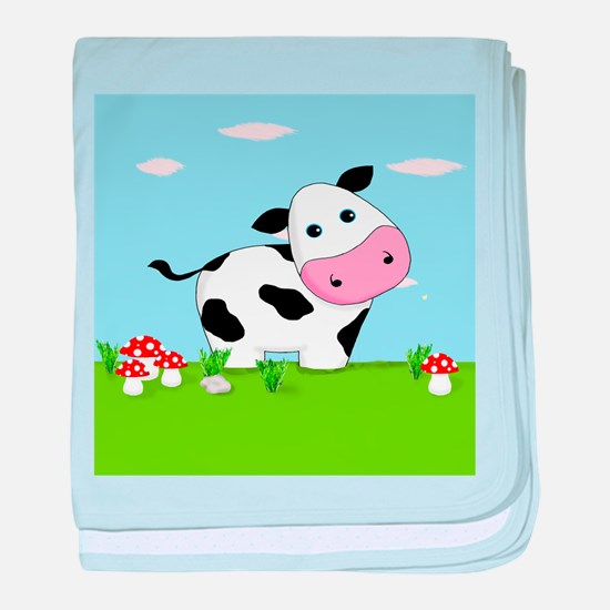 Cow in a Field baby blanket