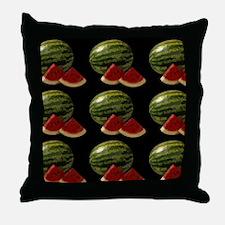 black watermelon Throw Pillow