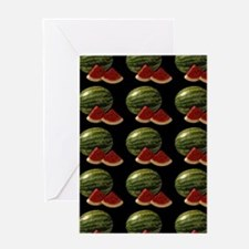 black watermelon Greeting Cards