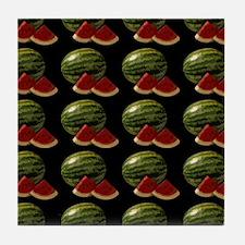black watermelon Tile Coaster