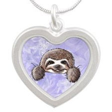 KiniArt Pocket Sloth Silver Heart Necklace
