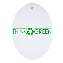 THINK GREEN(RECYCLE) Oval Ornament