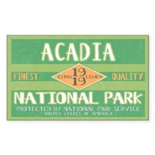 Acadia National Park (Retro) Rectangle Decal