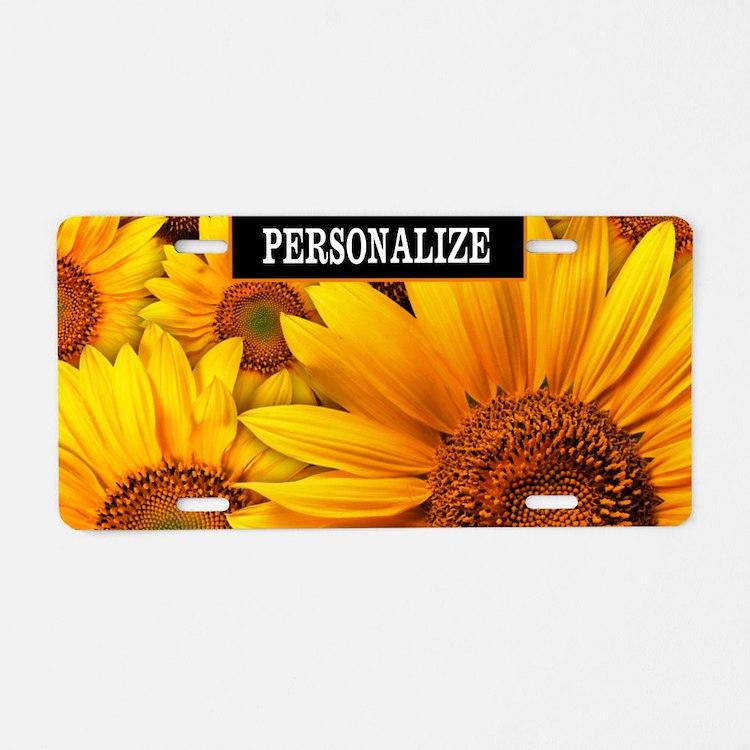 Sunflower Custom Aluminum License Plate