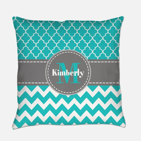 Gray and Blue Chevron Personalized Everyday Pillow