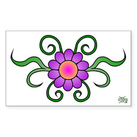 Sticker Rectangular 5.5x3.5 H Flower Sticker