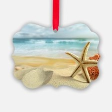 Starfish on Beach Picture Ornament