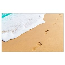 Footprints On Sandy Beach Poster