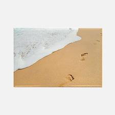 Footprints On Sandy Beach Rectangle Magnet