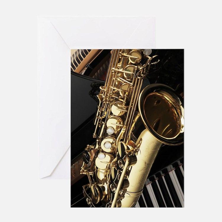 Saxophone And Piano  Greeting Card