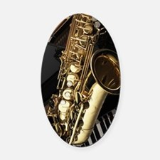 Saxophone And Piano  Oval Car Magnet