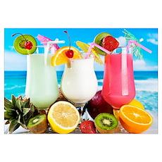 Exotic Summer Cocktails Poster