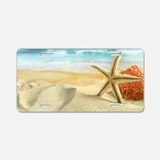 Starfish on Beach Aluminum License Plate