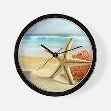 Starfish on Beach Wall Clock