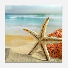 Starfish on Beach Tile Coaster