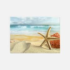 Starfish on Beach 5'x7'Area Rug