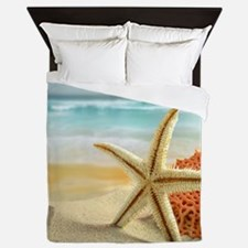 Starfish on Beach Queen Duvet