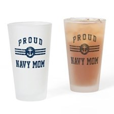 Proud Navy Mom Vintage Drinking Glass