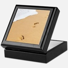 Footprints On Sandy Beach Keepsake Box