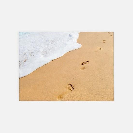 Footprints On Sandy Beach 5'x7'Area Rug