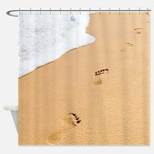 Footprints On Sandy Beach Shower Curtain