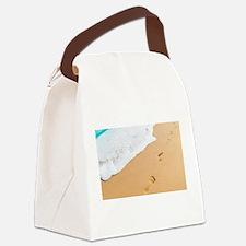 Footprints On Sandy Beach Canvas Lunch Bag